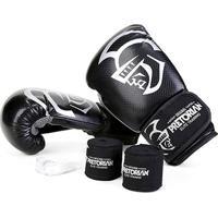 Kit Luva De Boxe/Muay Thai Pretorian Elite 10 Oz + Bandagem + Protetor Bucal - Unissex