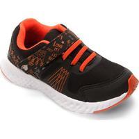 Tênis Infantil No Stress Detalhe Velcro Running - Masculino-Preto+Laranja