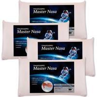 Kit Com 4 Peças Travesseiro Viscoelástico Master Nasa