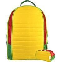 Kit Infantil Mochila Escolar Mumagi + Estojo Jacaré Masculino - Masculino-Amarelo+Verde