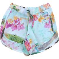 Shorts Cacau Kids Rincon Floral Rosa