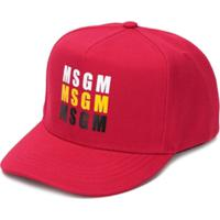 Msgm Kids Logo Print Cap - Vermelho