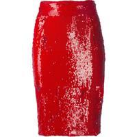 Dondup Embellished Pencil Skirt - Vermelho
