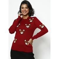 Blusa Em Tricot Ursos- Vermelha & Marrom- Ponto Aguiponto Aguiar
