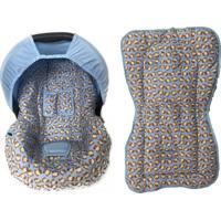 Conjunto Capa De Bebê Conforto E Capa De Carrinho Macaco Alan Pierre Baby 0 A 13 Kg Azul