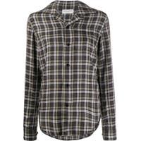 Saint Laurent Camisa Xadrez Mangas Longas - Marrom