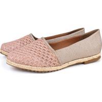 Alpargata Trivalle Shoes Crochê Rosê/Metálico