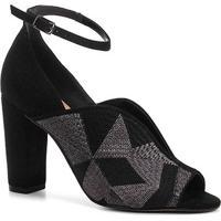 Sandália Shoestock Salto Bloco Bordado Feminina - Feminino-Preto