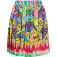 Versace Jeans Couture Paisley Fantasy Print Pleated Mini Skirt - Rosa