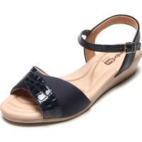 Sandália Comfortflex Croco Azul-Marinho