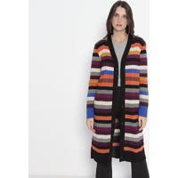 Cardigan Listrado Em Tricô - Preto & Laranja - Wool Wool Line