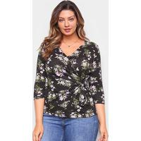 Blusa Naif Plus Size Floral Transpassada Feminina - Feminino-Lilás