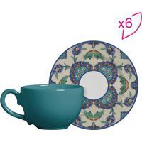 Conjunto De Xícaras De Chá Arabesco- Verde Água & Azul