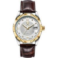 Relógio Tevise 629-003 Masculino Automático Pulseira De Couro Marrom - Branco E Dourado
