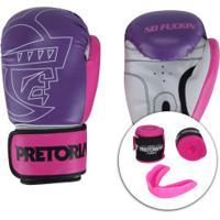 Kit Boxe Muay Thai Pretorian: Bandagem + Protetor Bucal + Luvas First - 12 Oz - Feminino - Roxo/Branco
