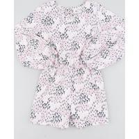 Macaquinho Infantil Estampado Floral Manga Longa Rosa Claro