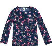 Blusa Floral- Azul Marinho & Rosa-Teen-Pucpuc