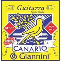 Encordoamento Para Guitarra Canário Tensão Media Gesgt9 Giannini