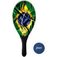 Raquete Frescobol Evo Fibra De Vidro Brasil + Bola Penn - Unissex