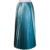 P.A.R.O.S.H. Saia Midi Com Pregas - Azul