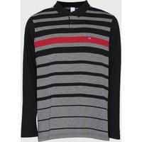 Camisa Polo Malwee Reta Listrada Cinza/Preta