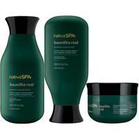 Combo Nativa Spa Baunilha Real: Shampoo + Condicionador + Máscara Capilar