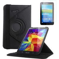 "Capa Giratória Inclinável Para Tablet Samsung Galaxy Tab3 7.0"" Sm-T110 T111 T113 T116 + Película Pet Preto"