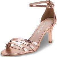 Sandália Salto Alto Via Marte Feminina - Feminino-Bronze