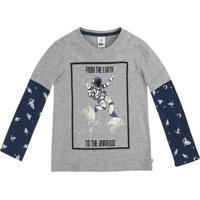 "Camiseta ""From The Earth""- Cinza & Azul Marinho- Pripuc"