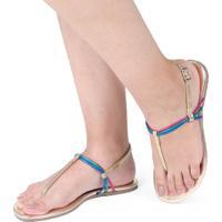 Sandália Rasteira Mercedita Shoes Metalizada Dourada Tiras Coloridas Ultra Conforto