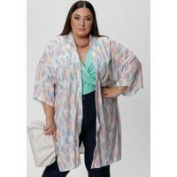 Kimono Amplo Abstrato Colorido Com Fendas