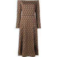 Fendi Vestido Midi - Marrom