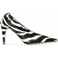 Bottega Veneta Sapato Bicolor De Couro Com Salto 90Mm - Branco