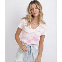 Blusa Feminina Estampada Tie Dye Manga Curta Decote V Rosa