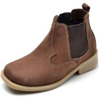 Bota Cotinha Ousy Shoes Couro Elastic Kids Marrom