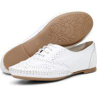 Sapato Oxford Feminino Casual Em Couro Q&A Calçados Branco