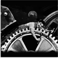 Quadro Charlie Chaplin Engranagem Uniart Preto & Branco 30X30Cm