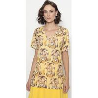 Blusa Alongada Leões- Amarela & Marrom- Cotton Colorcotton Colors Extra