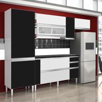 Cozinha Ebano 9 Portas 3 Gavetas Branco E Preto