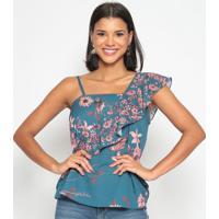 Blusa Ombro ÚNico Floral - Azul & Rosagatabakana
