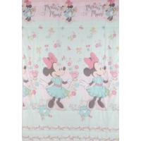 Edredom Solteiro Santista Disney Light Minnie Liberty 150X220Cm Verde/Rosa