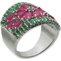 Anel Flor Cravejado Com Zircônias Rosa E Verde E Banho Em Prata