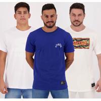 Kit De 3 Camisetas Starter Ii Cinza Branca E Azul