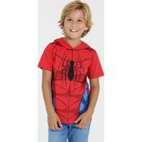 Camiseta Infantil Homem Aranha Capuz Manga Curta Marvel