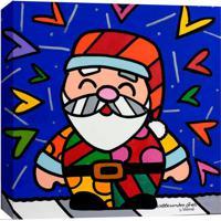 Quadro Impressão Digital Papai Noel Pop-Art Azul 30X30Cm Uniart