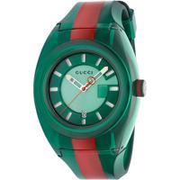 766a96ac491 Relógio Gucci Masculino Borracha Verde E Vermelho - Ya137113