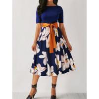 Vestido Elegante Saia Rodada Floral Com Laço - Azul Escuro