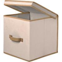 Caixa Organizadora Em Tecido Com Tampa Bege Uso Geral 30Lx30Cx30A - Nacional