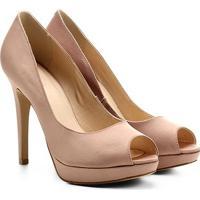 Peep Toe Shoestock Meia Pata Cetim - Feminino
