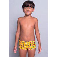 Sunga Juvenil Serra E Mar Modas Box Short Estampada Amarela